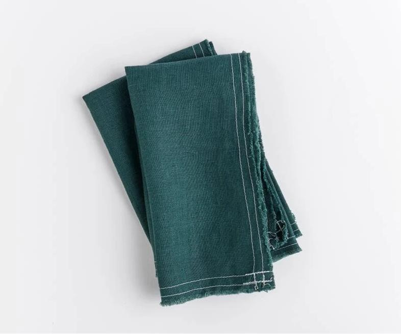 deep green linen napkins