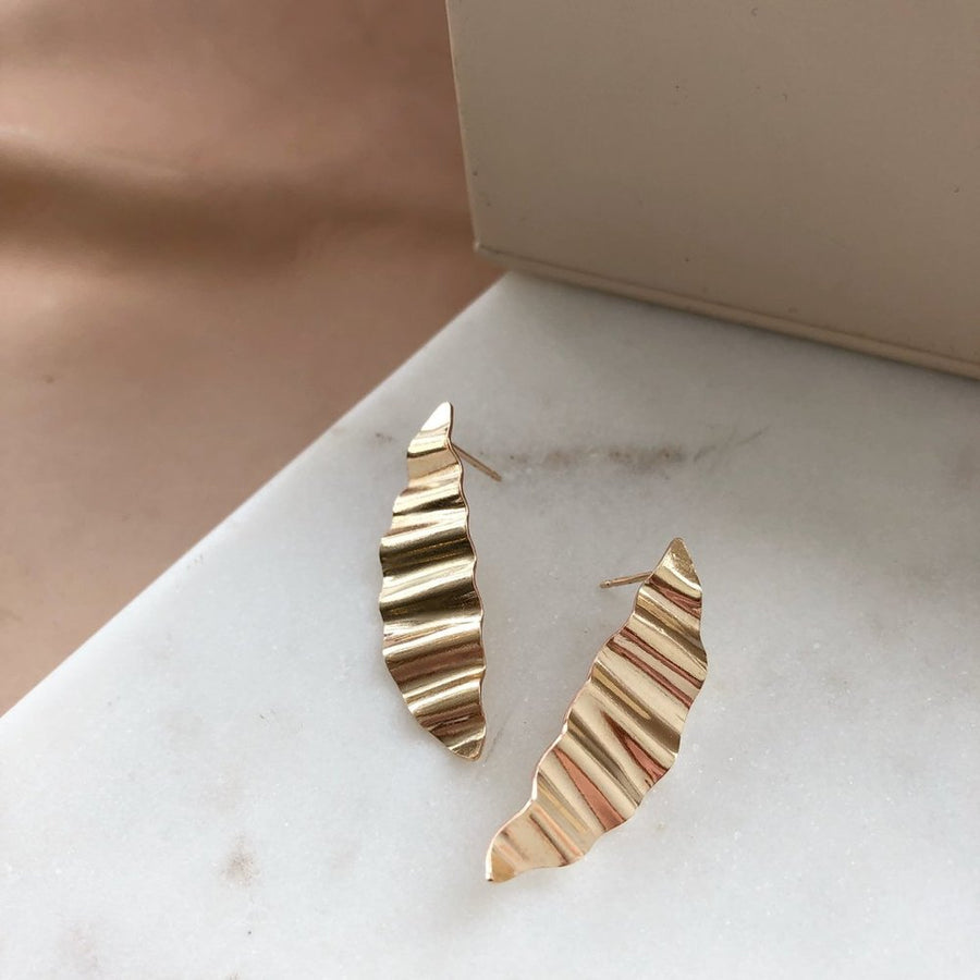 modern gold wave earrings