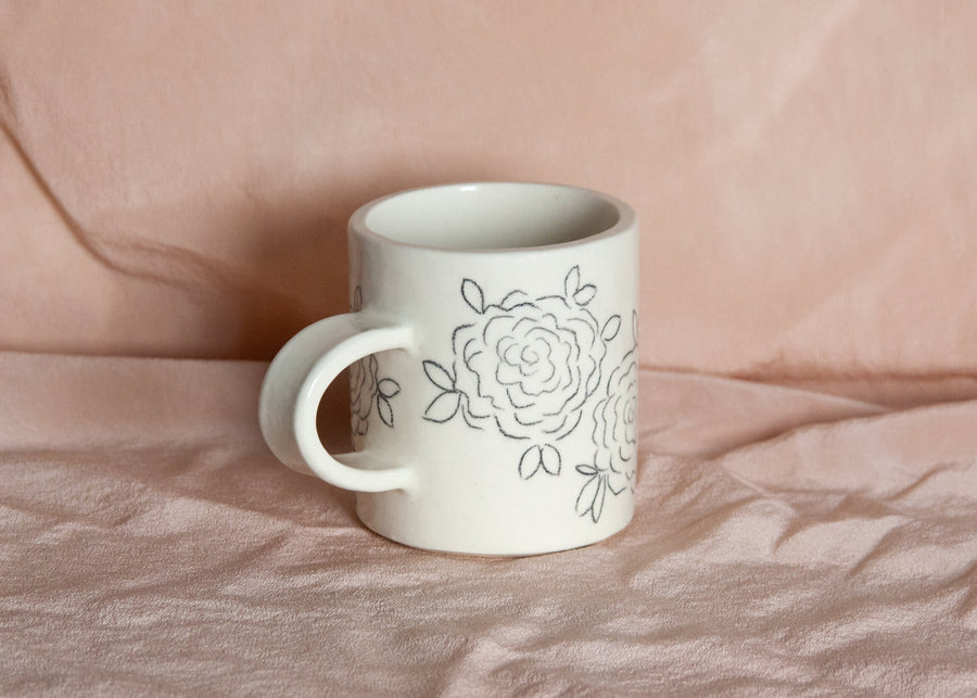 floral line drawing ceramic mug