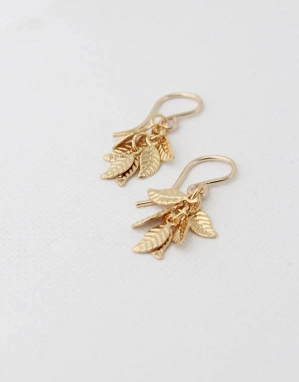 Gold Leaf Cluster Earrings