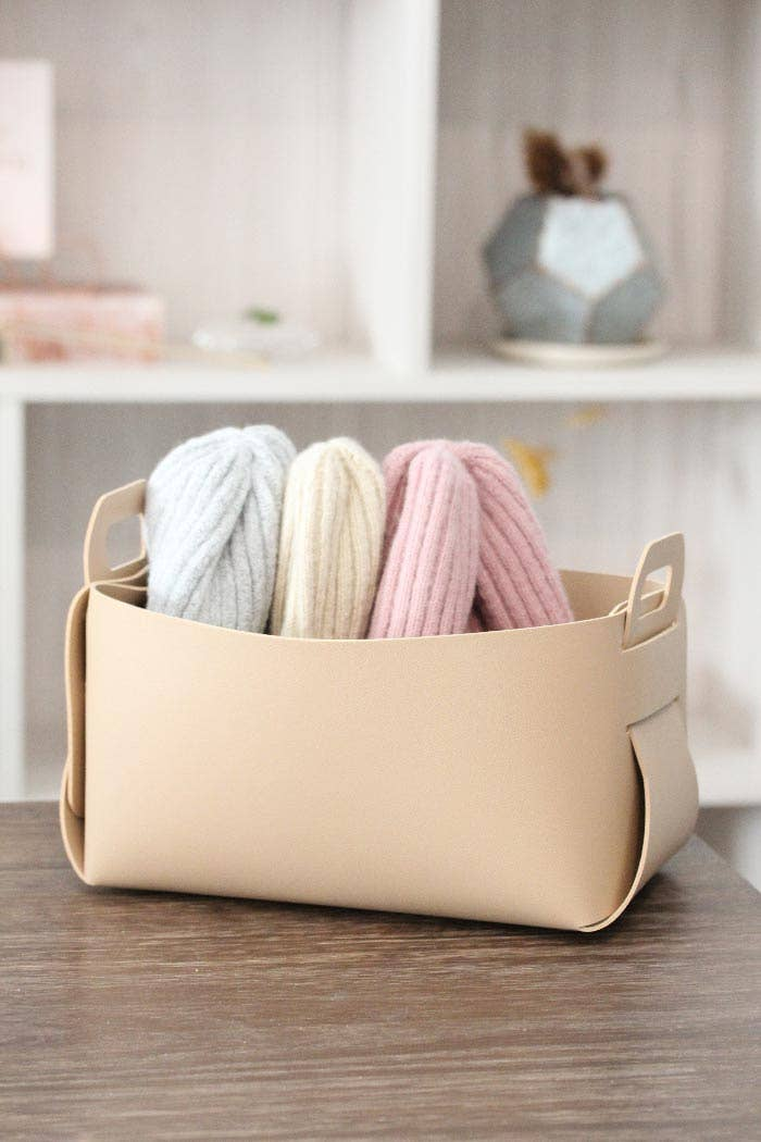 vegan leather storage basket