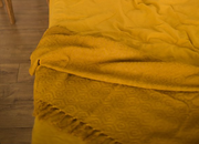 mustard throw blanket