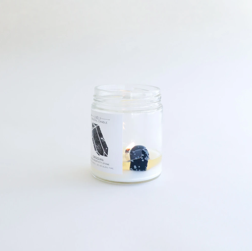 Obsidian Crystal Candle