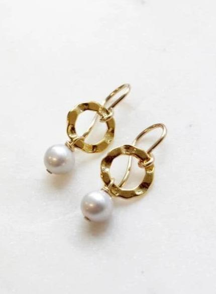 Pearl Hammered Circle Earrings