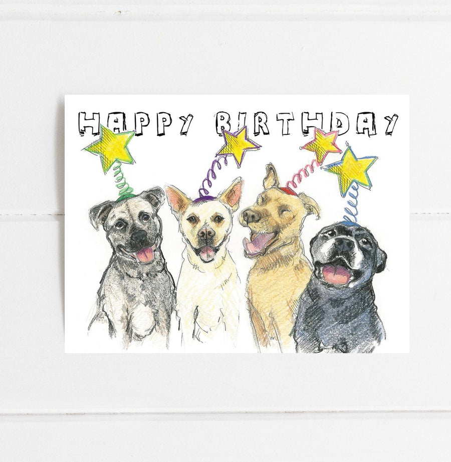 Pittie Stars Birthday Card