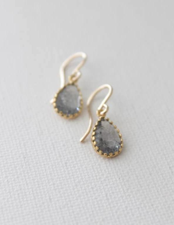Smoky CZ Teardrop Earrings