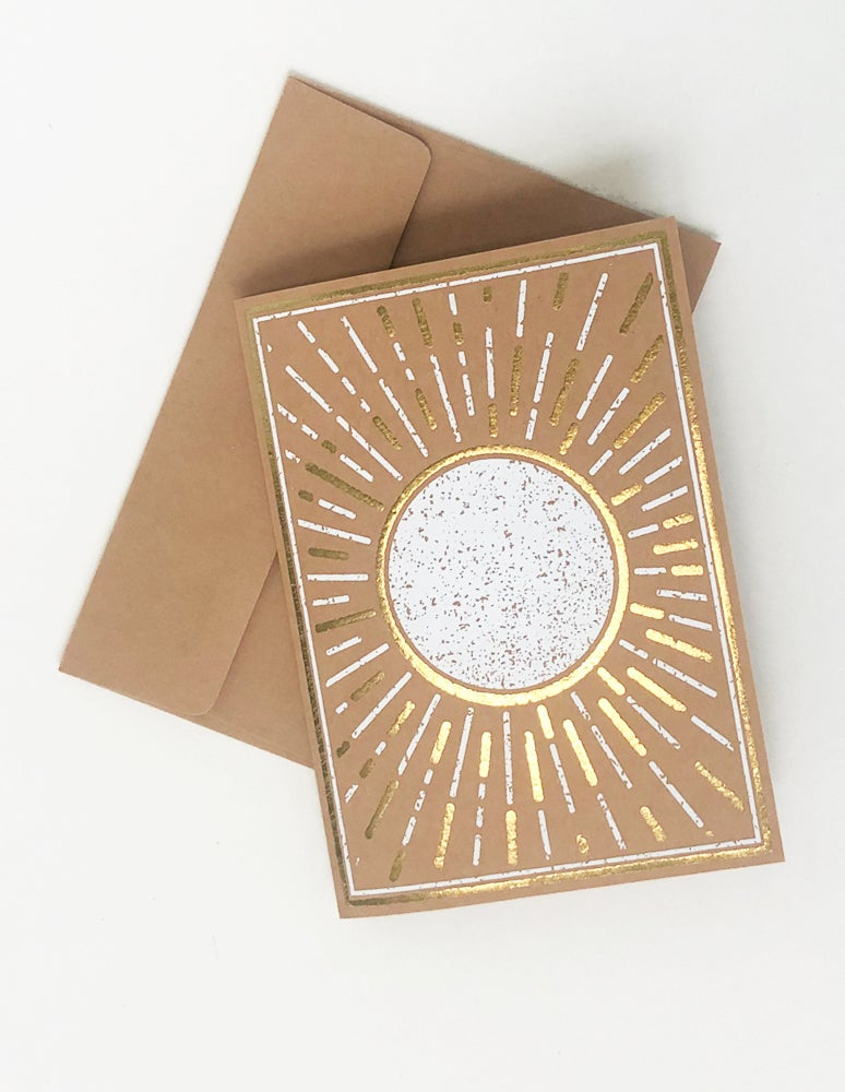 metallic sunburst card