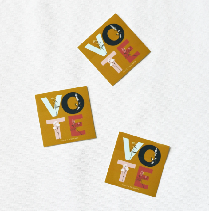 floral vote sticker