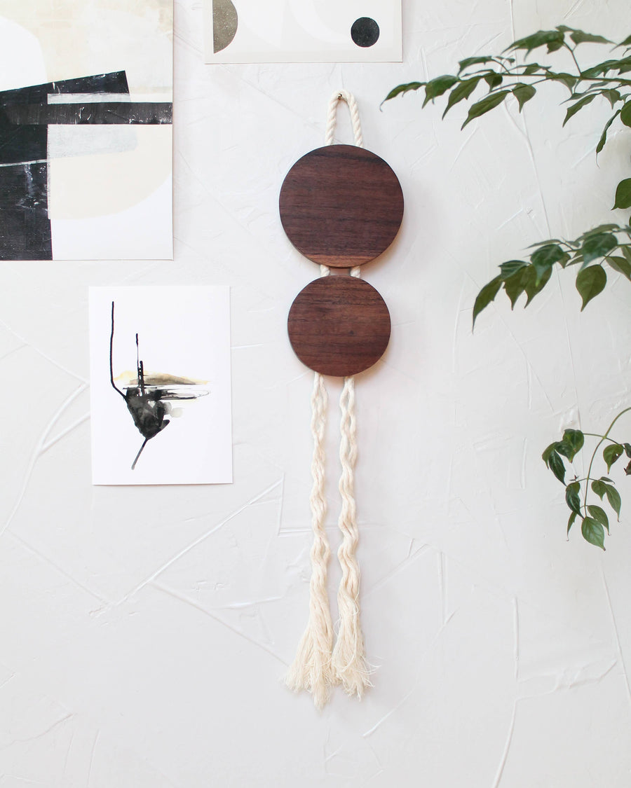 walnut rope wall hanging