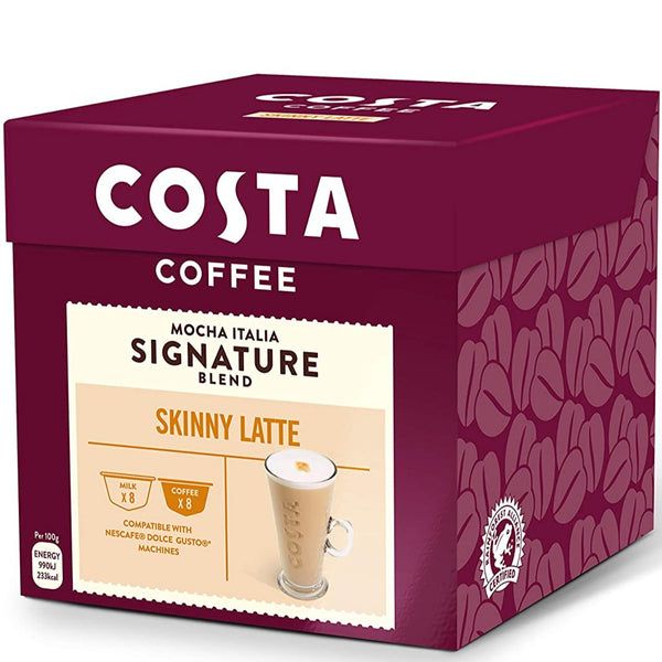 Costa Skinny Latte Coffee  Dolce Gusto Caps | كوستا كوفي - كبسولات سكيني لاتيه دولتشي جوستو 16 كبسولة