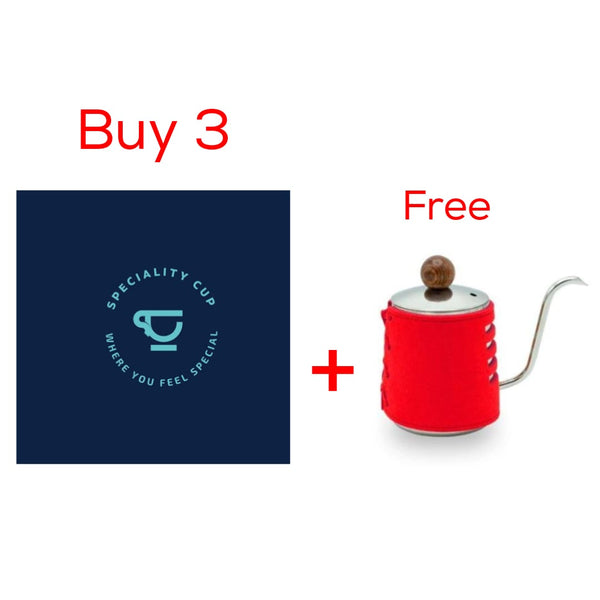 Buy 3 Specialty Cup Filter Coffee Bags Get  Red Hand free Kettle 350ml |  اشتر 3 اكياس من سبشياليتي كوب واحصل على هاند فري كيتل أحمر