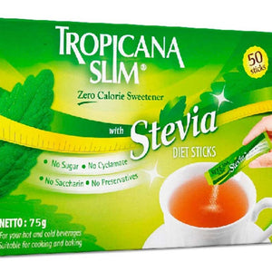Tropicana slim sweetner zero cal 50 sticks with stevia  -75gm   تروبيكانا سلم محلي ستيفيا للحمية   50 كيس