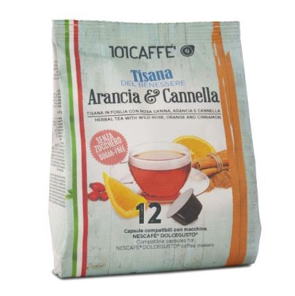 101 Tisana  Arancia & cannella Orange and cinnamon Tea . 12 pcs DolceGusto