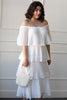 white tiered ruffle midi, bridal plus, rehearsal dinner dress, rehearsal dinner dress plus