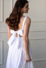white cotton a line midi dress with bow back, bridal shower dress