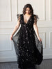 Black Sequin Star Mesh Ruffle Maxi Dress