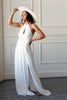 white crepe bridal halter neck maxi dress