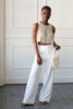 white wide legged crepe pants, bridal pantsuit, rehearsal dinner outfits