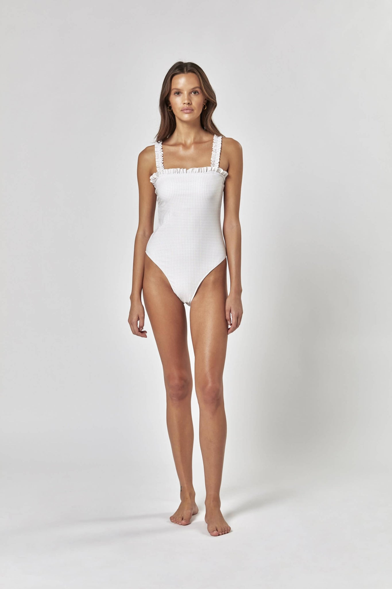 honeymoon swimsuit, white one-piece swimsuit, bride one-piece, gingham swimsuit