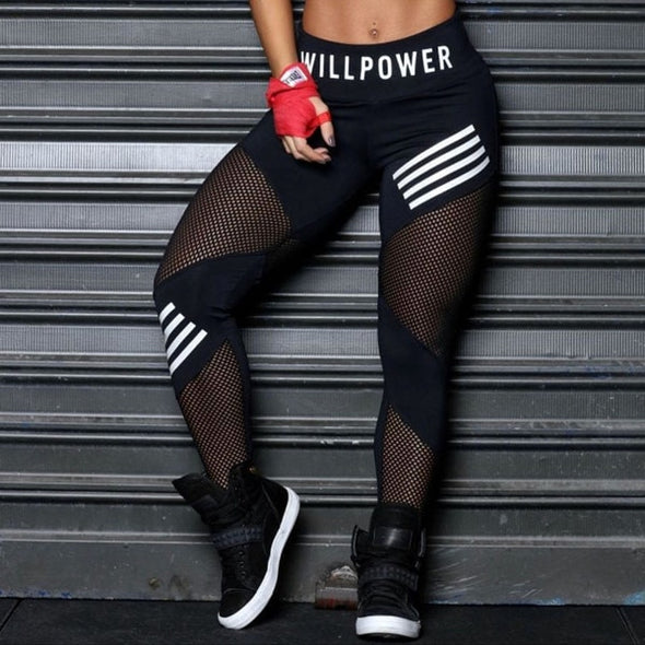 High Waist Mesh Patchwork Fitness Leggings