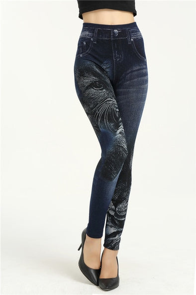 High Elastic Denim Leggings