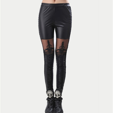 Lacey Faux Leather Leggings