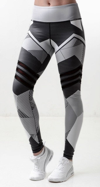 Patchwork Print Workout Leggings