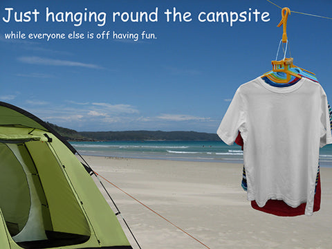 Clothes drying hangers suitable for camping