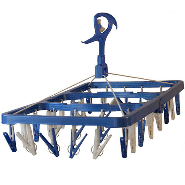 Clothes drying hanger in dark blue