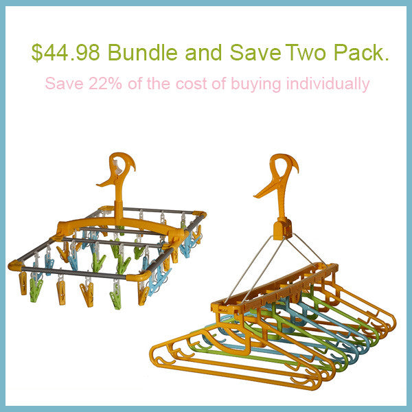 Bundle and Save. 32 Clip Hanger and Laundry Clothes Hanging Dryer with 8 Hangers