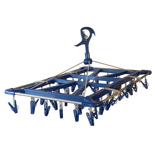 Laundry clothes drying hanger with towel rail in blue