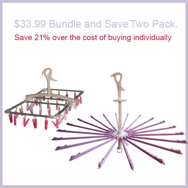 Bundle and Save. Clothes Airer Parasol  and Laundry Clothes Hanging Dryer with 32 clips