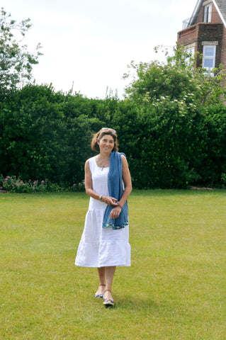 White Linen Lampshade Dress