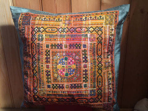 Luxury Hand Embroidered Silk Cushion