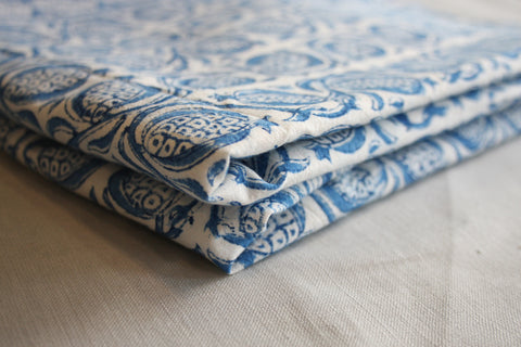 Pomegranate Indigo Block Printed Throw