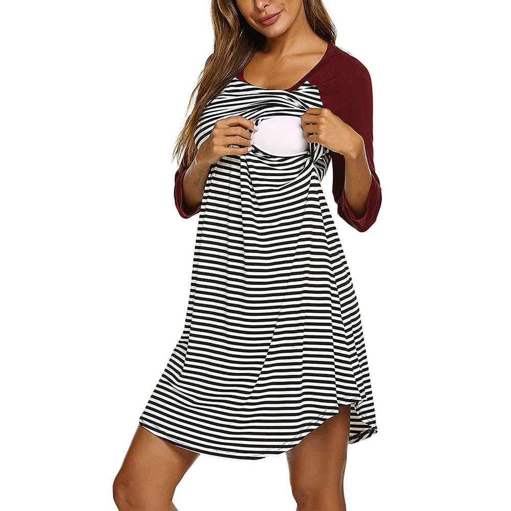 WISEFIN Maternity Clothes Stripes With Long Sleeves