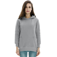 Maternity Long Sleeve Shirt with Hoodie