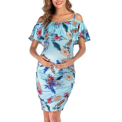 Print Floral Ruffles Dress Pregnancy