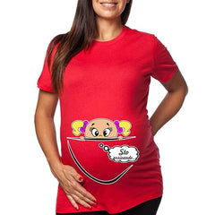 Woman Pregnantcy T-shirt with a Cartoon Motif