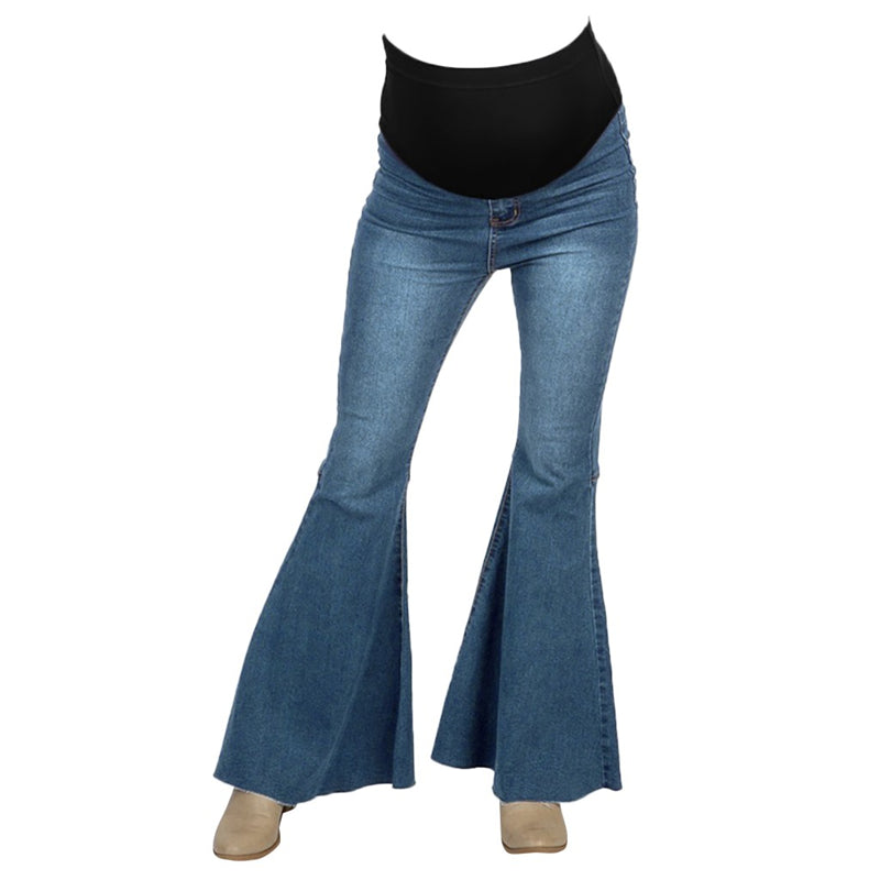 High Waist Lift Belly Flare Jeans For Pregnancy