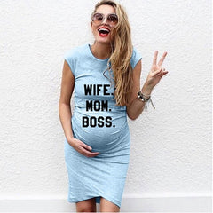 WIFE. MOM. BOSS. Short Sleeve Pregnant Clothes