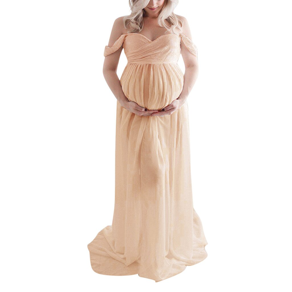 Long Dress Ruffle For Maternity Photoshoot