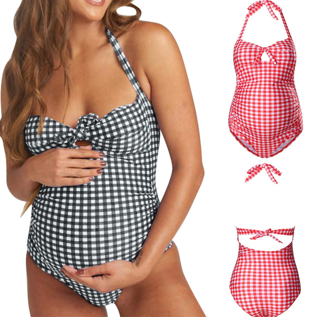 Plaid Swimsuit For Pregnant Women