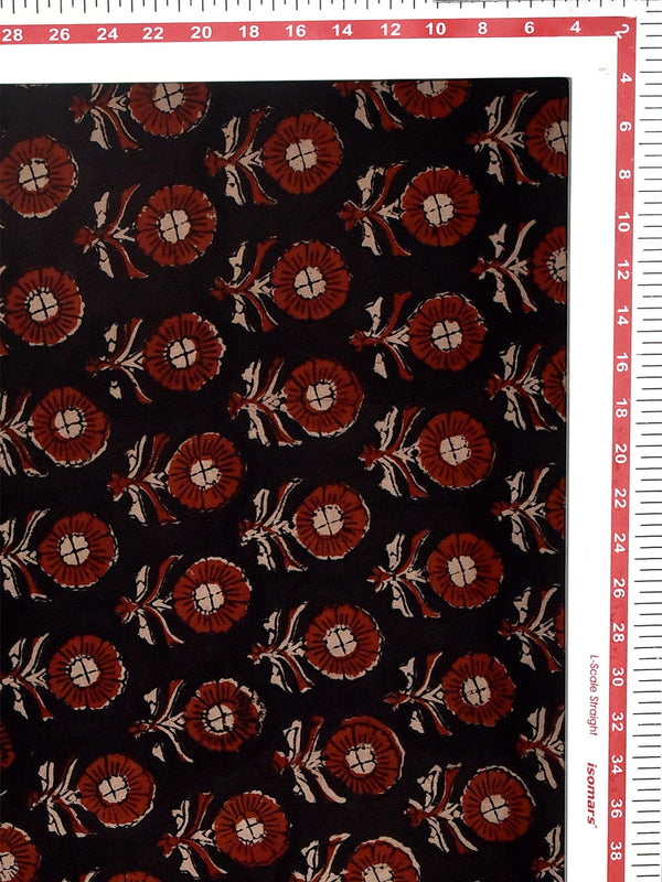 Black Kalamkari Natural Dyed Flower Pattern Cotton Cambric Fabric