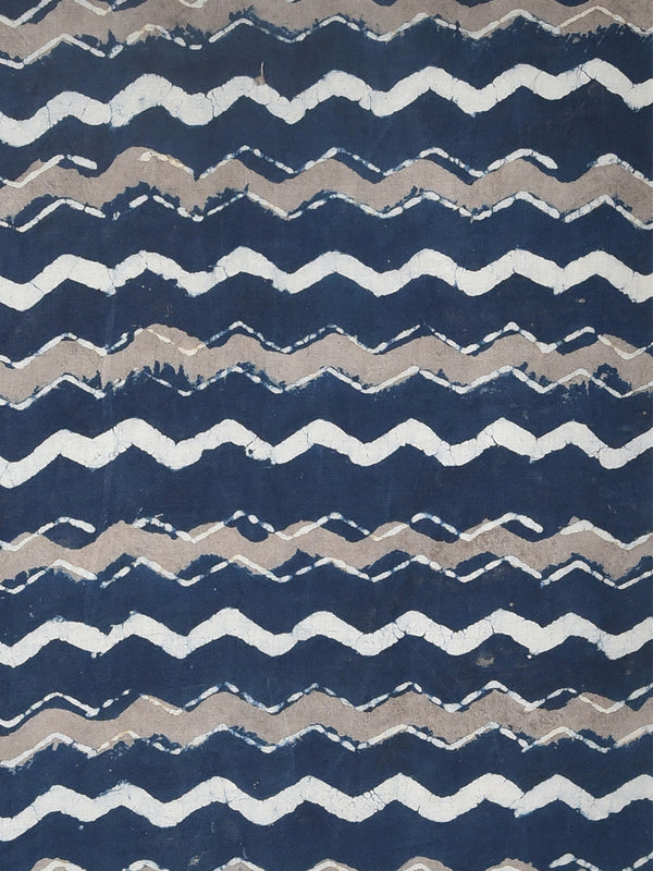 Indigo Dabu Natural Dyed Two Tone ZigZag Pattern Cotton Cambric Fabric