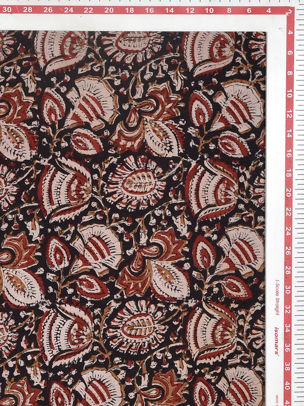 Black Forage Forest Kalamkari Cotton Cambric Fabric