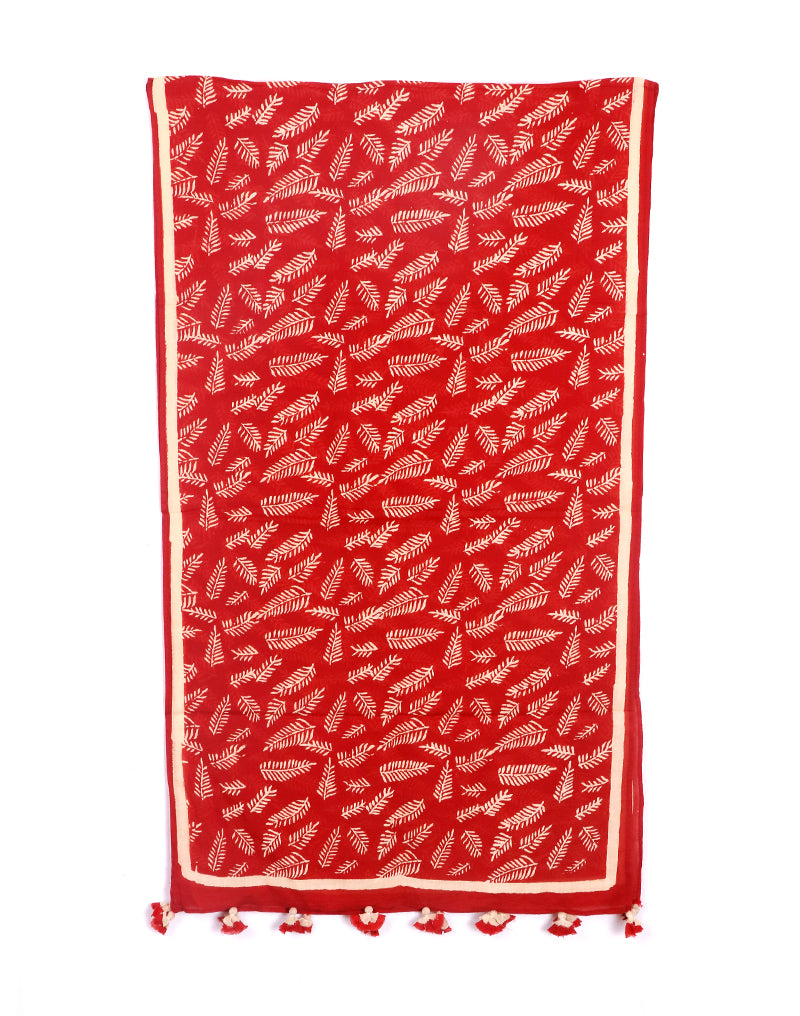 Red Long Leaf Cotton Voile Block Printed Stole