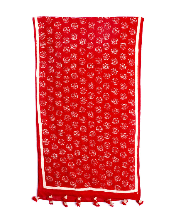 Red Crackle Cotton Voile Block Printed Stole