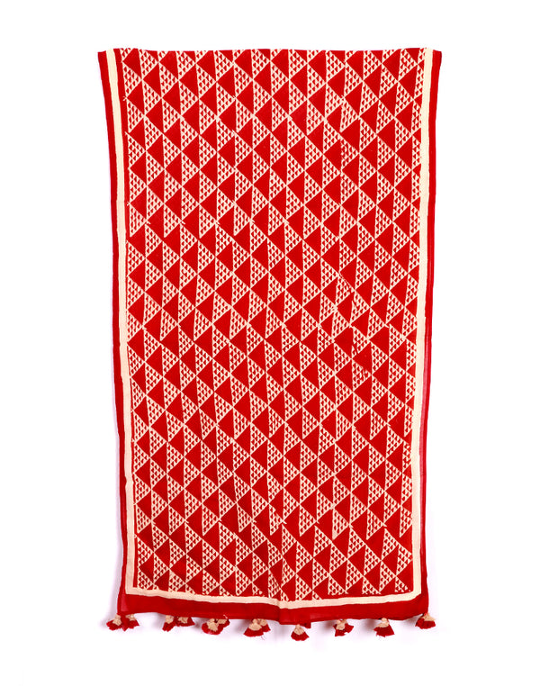 Red Aztec Cotton Voile Block Printed Stole