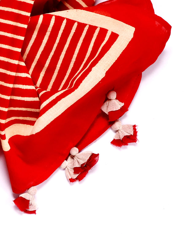 Red Horizontal Lines Block Printed Cotton Voile Stole